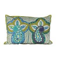 Applique cushion cover, 'Paisley Morn' - Handcrafted Fabric Cushion Cover