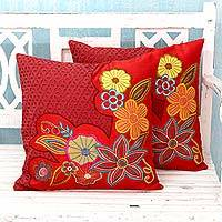 Applique cushion covers, 'Red Romance' (pair) - Floral Embroidered Cushion Covers (Pair)