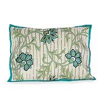 Applique cushion cover, 'Summer Garden' - Applique Cushion Cover from India