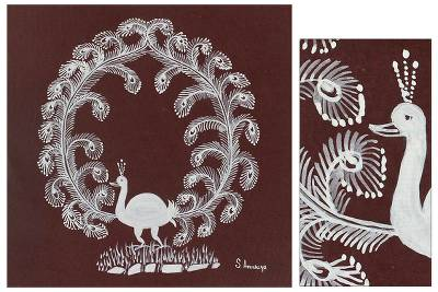 Warli painting, 'Peacock Wreath' - Warli painting