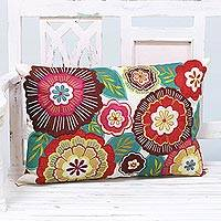 Embroidered cushion cover, 'Festival of Flowers' - Handcrafted Floral and Red Polyester Pillow Cover