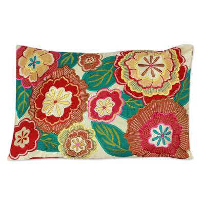 Embroidered cushion cover, 'Festival of Flowers' - Floral Patterned Cushion Cover