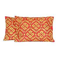 Embroidered cushion covers, 'Golden Harmony' (pair) - Floral Embroidered Cushion Covers from India (Pair)