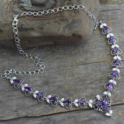 Amethyst Y necklace, 'Delhi Garden' - Amethyst Y necklace