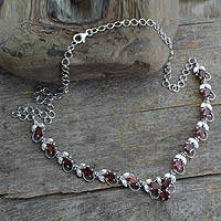 Garnet Y necklace, 'Delhi Garden' - Garnet Y necklace