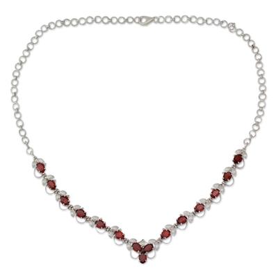 Garnet Y necklace, 'Delhi Garden' - Garnet Y necklace