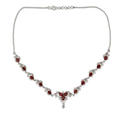 Garnet pendant necklace, 'Mumbai Garden' - Garnet Pendant Necklace