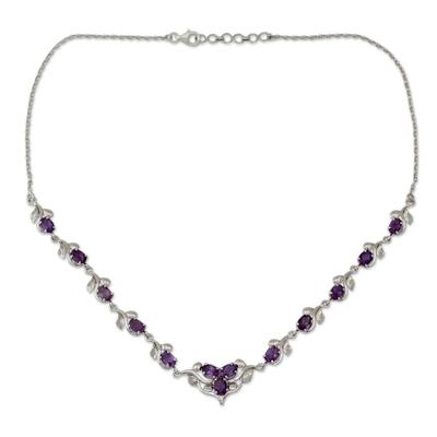 Amethyst Y necklace, 'Mumbai Garden' - Amethyst Y necklace