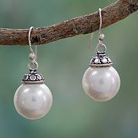 Cultured pearl dangle earrings, 'Morning Moonlight' - Cultured pearl dangle earrings