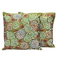 Cushion covers, 'Rose Dazzle' (pair) - Handcrafted Indian Floral Polyester Cushion Covers (Pair)