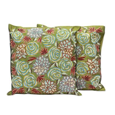 Cushion covers, 'Rose Dazzle' (pair) - Cushion covers (Pair)