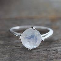 Moonstone solitaire ring, 'India Fortune' - Handcrafted Moonstone Sterling Silver Womens Ring