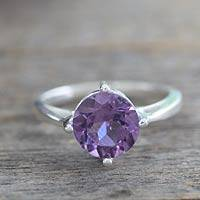 Amethyst solitaire ring, 'India Wisdom'