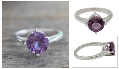 Amethyst solitaire ring, 'India Wisdom' - Hand Made Amethyst Solitaire Ring