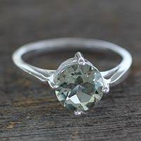 Prasiolite solitaire ring, 'India Compassion'