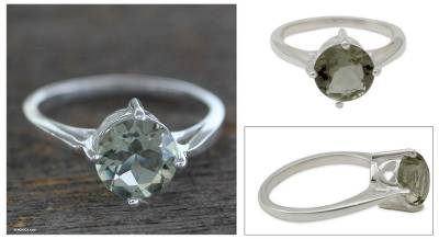Prasiolite solitaire ring, 'India Compassion' - Prasiolite solitaire ring