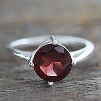 Garnet solitaire ring, 'India Love' - Garnet solitaire ring