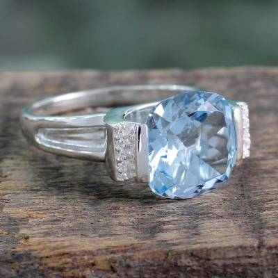 Hand Made Sterling Silver Single Stone Blue Topaz Ring
