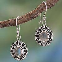 Labradorite dangle earrings, 'Mughal Aura' - Unique Sterling Silver and Labradorite Earrings