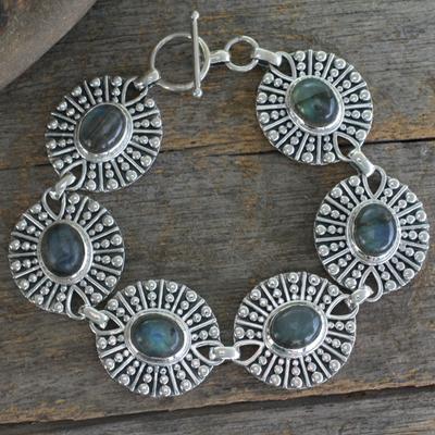Labradorite link bracelet, 'Mughal Aura' - Hand Made Sterling Silver and Labradorite Link Bracelet