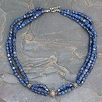 Lapis lazuli beaded necklace, 'Midnight Serenade' - Lapis lazuli beaded necklace