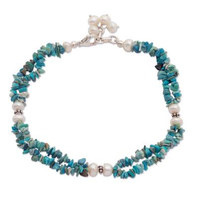 Turquoise and cultured pearl anklet