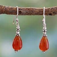 Carnelian dangle earrings, 'Fire' - Carnelian dangle earrings