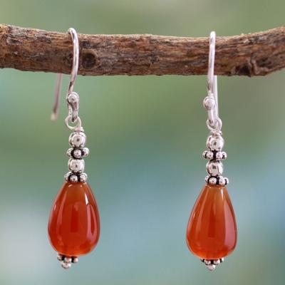 Carnelian dangle earrings, 'Fire' - Carnelian dangle earrings