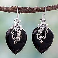 Onyx flower earrings, 'Midnight Magic' - Hand Crafted Sterling Silver Onyx Floral Earrings
