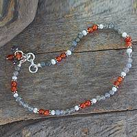 Featured review for Labradorite and carnelian anklet, Delhi Dusk