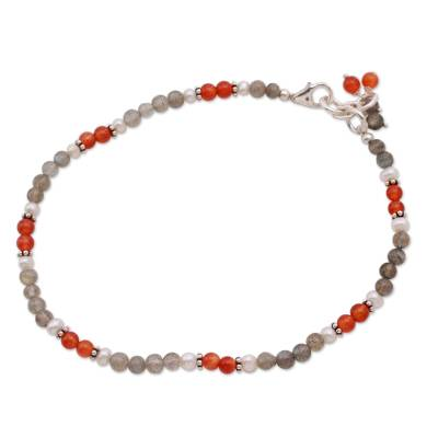 Labradorite and carnelian anklet