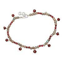 Labradorite and garnet anklet, 'Delhi Disco' - Labradorite and Garnet Anklet