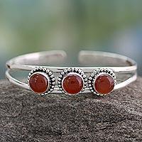 Carnelian cuff bracelet, 'Delightful' - Sterling Silver and Carnelian Cuff Bracelet
