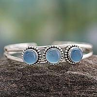 Chalcedony cuff bracelet, 'Delightful' - Chalcedony cuff bracelet