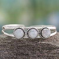 Rainbow moonstone cuff bracelet, 'Delightful' - Rainbow Moonstone cuff bracelet