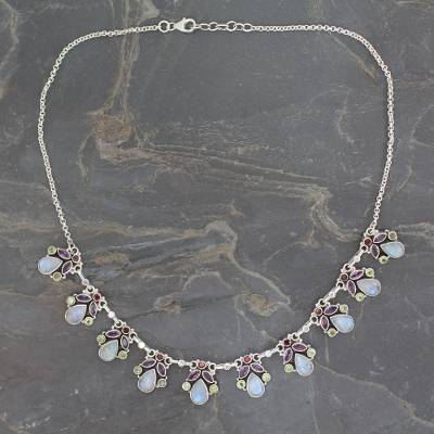 Rainbow moonstone and amethyst pendant necklace, 'Delhi Dynasty' - Hand Made Natural Gems and Sterling Silver Necklace
