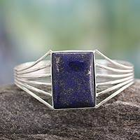 Lapis lazuli cuff bracelet, 'Royal Grandeur' - Sterling Silver Lapis Lazuli Cuff Bracelet Modern Jewelry