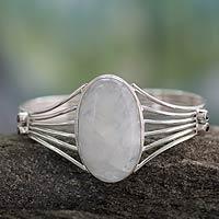 Rainbow moonstone cuff bracelet, 'Rainbow Mist' - Modern Rainbow Moonstone Sterling Silver Cuff Bracelet