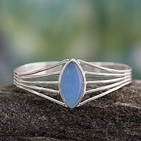 Chalcedony cuff bracelet, 'Clear Sky'