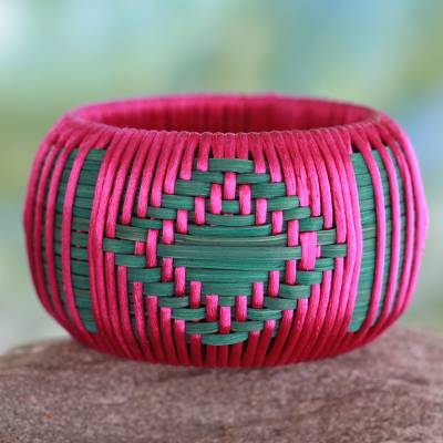 Handcrafted rattan bangle bracelet, 'Fuchsia Forest' - Handmade Modern Natural Fiber Bangle Bracelet