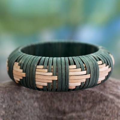 Handcrafted rattan bangle bracelet, 'Toward the Forest' - Handcrafted rattan bangle bracelet