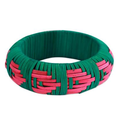 Handcrafted rattan bangle bracelet