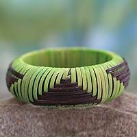 Handcrafted rattan bangle bracelet, 'Olive Hills' - Handmade Modern Natural Fiber Bangle Bracelet