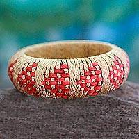 Rattan bangle bracelet, 'Ginger Arrows' - Handmade Rattan Bangle Bracelet