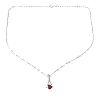 Garnet pendant necklace, 'Silver Flare' - Hand Crafted Sterling Silver and Garnet Pendant Necklace