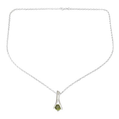 Peridot pendant necklace, 'Silver Flare' - Fair Trade Modern Sterling Silver and Peridot Necklace