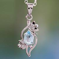 Blue topaz pendant necklace, 'Grace' - Blue topaz pendant necklace