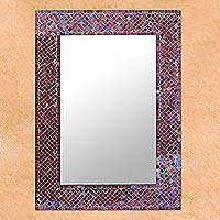 Glass mosaic wall mirror, 'Burgundy Light' - Wall Mirror Glass Mosaic Tile Handmade in India