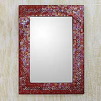 Glass mosaic wall mirror, 'India Sunset' - Unique Mosaic Wall Mirror from India