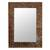 Glass mosaic wall mirror, 'Mumbai Maze' - Glass Tile Mirror Brown Gold Handcrafted in India thumbail